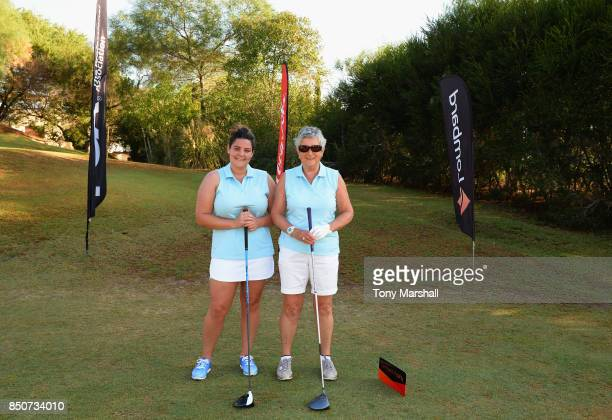 Nikki Dunn of Dinsdale Spa Golf Club and Kate Brown of Dinsdale Spa Golf Club pose on the 1st tee during The Lombard Trophy Final Day One on...
