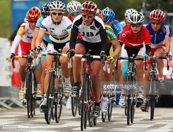 Nikki Egyed of Australia and Kristin Armstrong of the USA ride in the peloton in the Elite Women's Road Race during the 2008 UCI Road World...