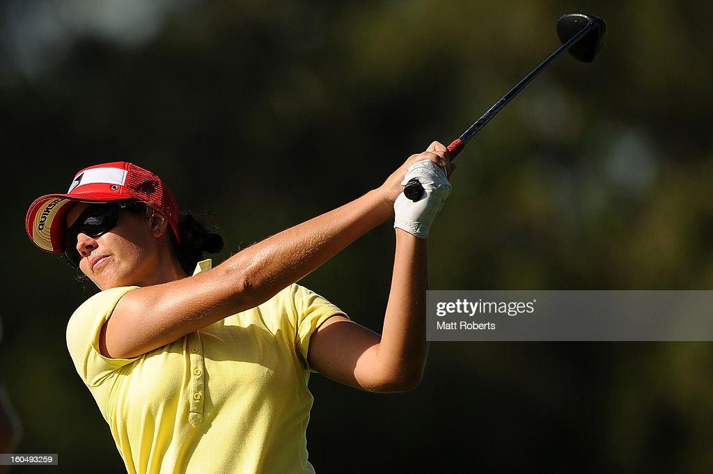 Nikki Garrett of Australia plays her shot on the 12th hole during the Australian Ladies Masters at Royal Pines Resort on February 2, 2013 on the Gold Coast, Australia.