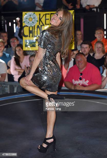 Nikki Grahame departs after her stay at the Big Brother Timebomb house at Elstree Studios on June 26 2015 in Borehamwood England
