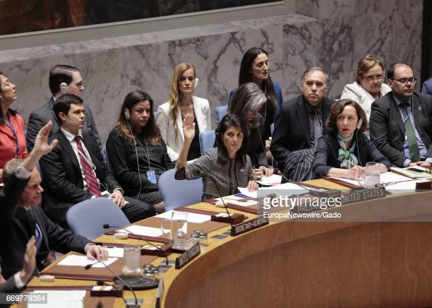 Nikki Haley during UN Security Council's vote on a draft resolution concerning the crisis in Syria at the UN Headquarters in New York City New York...