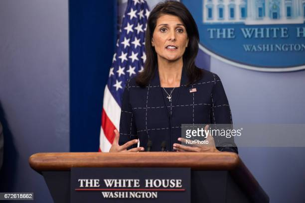 Nikki Haley United States Ambassador to the United Nations answers questions from reporters at the White House press briefing in the James S Brady...