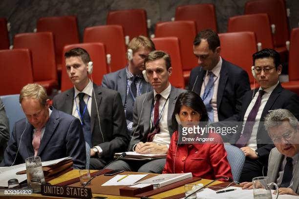 Nikki Haley United States ambassador to the United Nations listens during an emergency meeting of the UN Security Council at United Nations...