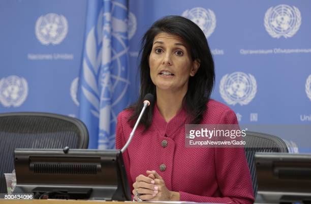Nikki Haley United States Permanent Representative to the United Nations and President of the Security Council for April briefs journalists on the...