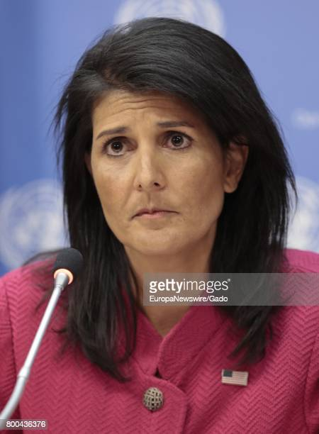 Nikki Haley United States Permanent Representative to the United Nations and President of the Security Council for April with a look of concern April...