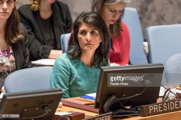 Nikki Haley US Ambassador to the UN is seen at the meeting The United Nations Security Council presided over by US Ambassador to the UN Nikki Haley...