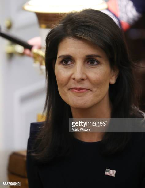 Nikki Haley US Ambassador to the United Nations attends a meeting with President Donald Trump and UN Secretary General António Guterres in the Oval...