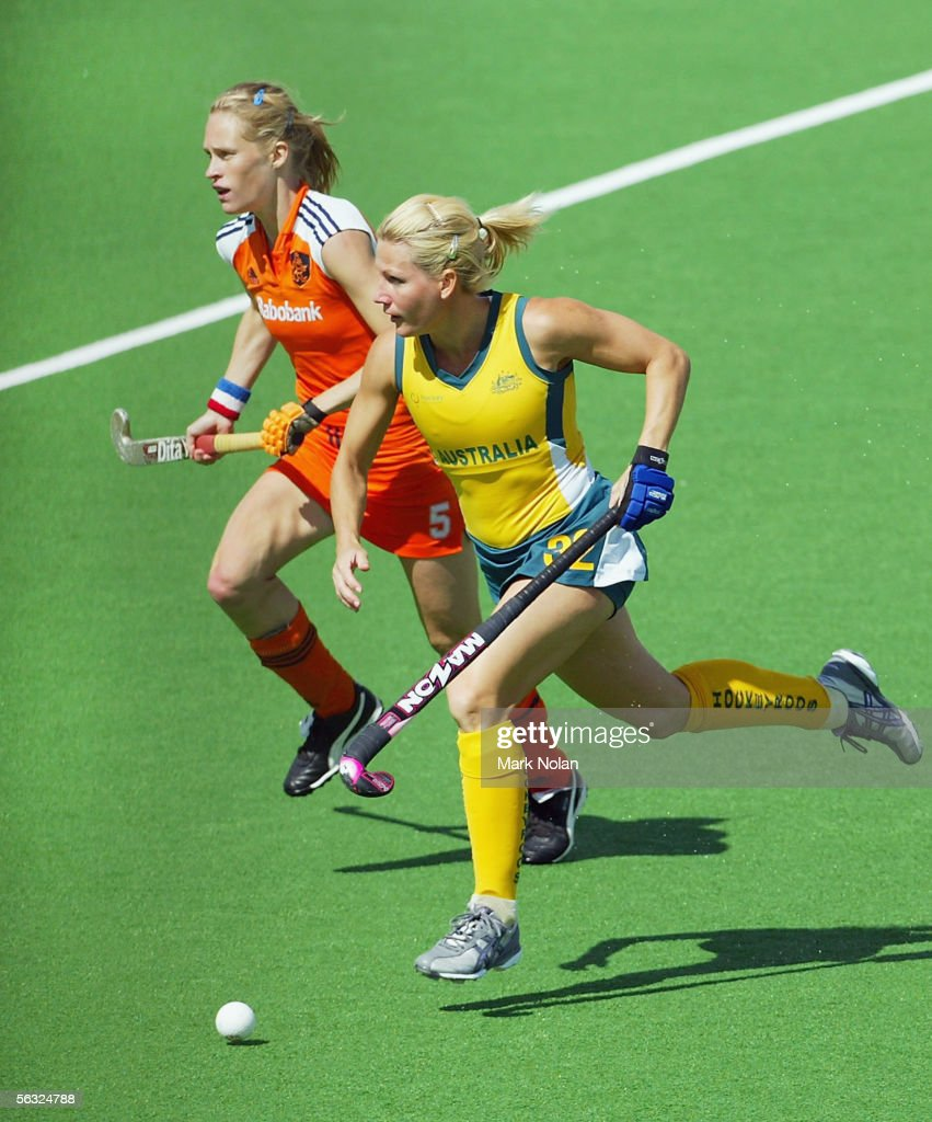 Nikki Hudson of Australia in action during the Women's Hockey Champions Trophy fifth round match between Australia and the Netherlands at the...