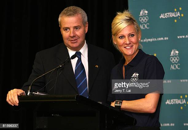 Nikki Hudson talks with Mike Tancred during the AOC announcement of the Australian Women's Olympic Hockey Team which has been selected to travel to...