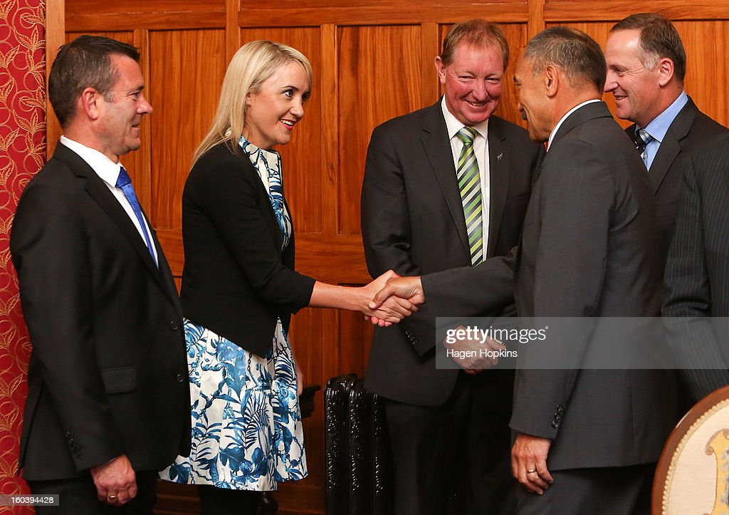 Nikki Kaye greets Governor-General Sir Jerry Mateparae during a ceremony at Government House on January 31, 2013 in Wellington, New Zealand. After a recent Cabinet reshuffle by Prime Minister John Key, Dr Nick Smith was appointed Minister of Housing, Nikki Kaye was appointed Minister for Food Safety, Youth Affairs and Civil Defence while Michael Woodhouse was appointed as a Minister, outside of Cabinet, for Immigration and Veterans Affairs.