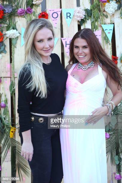 Nikki Lund and Ali Levine attend Ali Levine and Justin Jacaruso baby gender reveal celebration on October 22 2017 in Los Angeles California