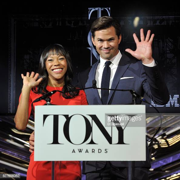 Nikki M James and Andrew Rannells announce nominations for the American Theatre Wing's 70th Annual Tony Awards at Diamond Horseshoe at the Paramount...