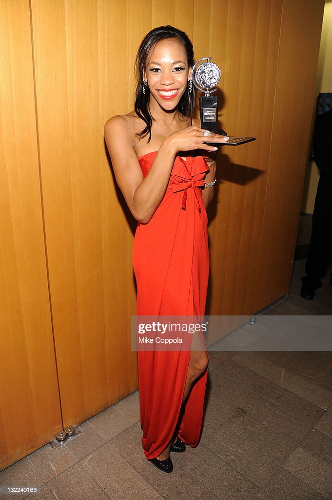 Nikki M James poses with the award for Best Performance by an Actress in a Featured Role in a Musical during the 65th Annual Tony Awards at the The...