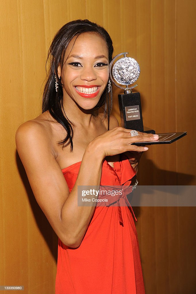 Nikki M. James poses with the award for Best Performance by an Actress in a Featured Role in a Musical during the 65th Annual Tony Awards at the The Jewish Community Center in Manhattan on June 12, 2011 in New York City.