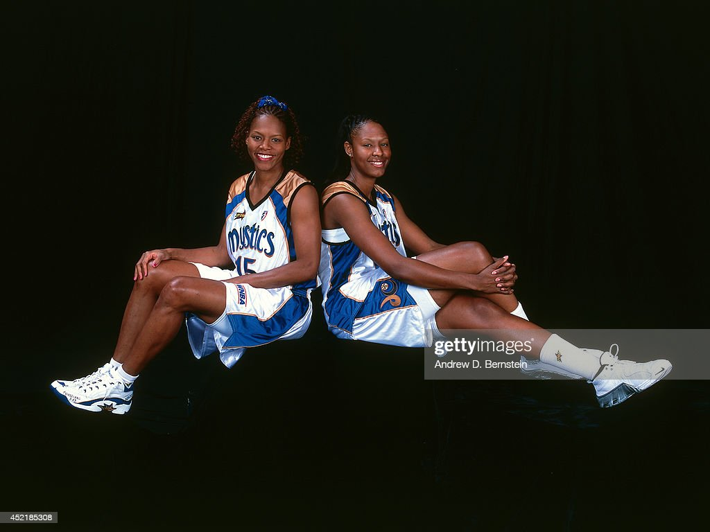 Nikki McCray and Chamique Holdsclaw of the Washington Mystics pose for a portrait during the 2000 WNBA AllStar Game on July 17 2000 at America West...