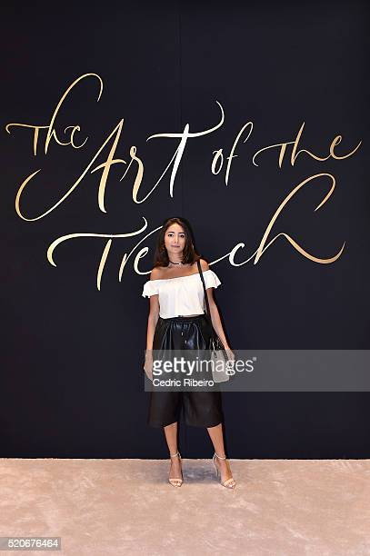 'DUBAI UNITED ARAB EMIRATES APRIL 12 Nikki Meftah at the Burberry Art of the Trench Middle East event at Mall of the Emirates on April 12 2016 in...