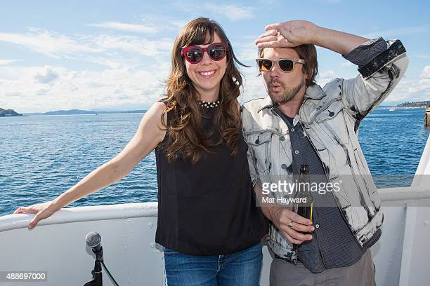 Nikki Monninger and Brian Aubert of Silversun Pickups pose for a photo before performing an EndSession hosted by 1077 The End on an Argosy Cruise...