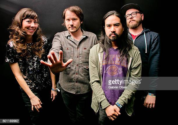 Nikki Monninger Brian Aubert Christopher Guanlao and Joe Lester of Silversun Pickups attend the 1067 KROQ Almost Acoustic Christmas 2015 on December...