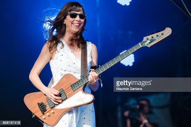 Nikki Monninger member of the band Silversun Pickups performs live on stage during day two of Lollapalooza Brazil at Autodromo de Interlagos on March...