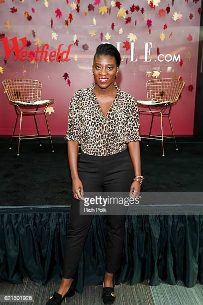 Nikki Ogunnaike Senior Fashion Editor for Elle poses for a photo at the Westfield Topanga x Ellecom Fall Trend Report at Westfield Topanga on...