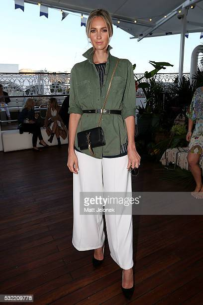 Nikki Phillips attends the Camilla show at MercedesBenz Fashion Week Resort 17 Collections at The Seadeck on May 19 2016 in Sydney Australia
