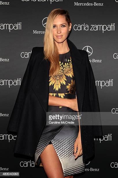 Nikki Phillips attends the Carla Zampatti show during MercedesBenz Fashion Week Australia 2014 at Carriageworks on April 6 2014 in Sydney Australia