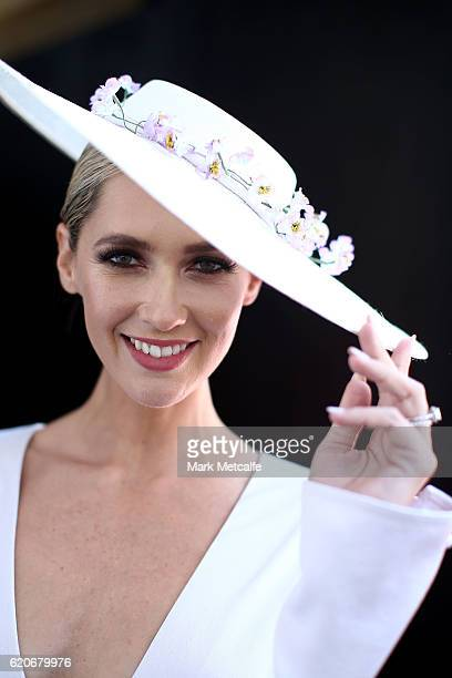 Nikki Phillips poses at the Fashions On The Field Marquee on Crown Oaks Day at Flemington Racecourse on November 3 2016 in Melbourne Australia