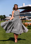 Nikki Phillips poses for photos during the Myer Fashions on the Field launch at Flemington Racecourse on October 28 2015 in Melbourne Australia