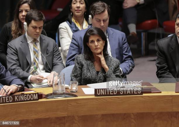 Nikki R Haley United States Permanent Representative to the UN during the Security Council meeting on Syria's use of chemical weapons at the UN...