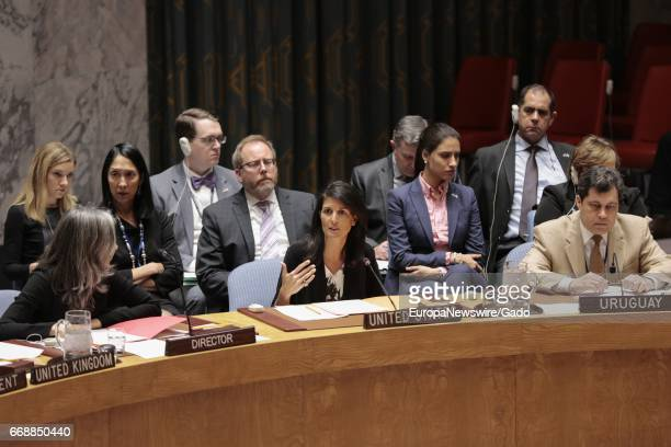 Nikki R Haley United States Permanent Representative to the UN during the Security Council meeting on the political situation concerning the...