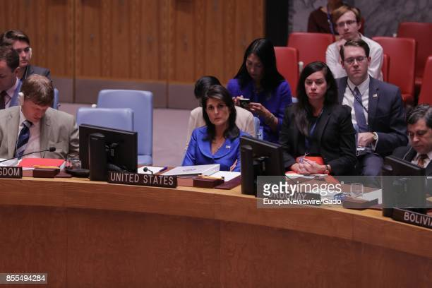 Nikki R Haley United States Permanent Representative to the UN during the Security Council Meeting on UNMISS at the United Nations headquarters in...