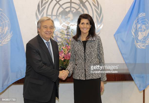 Nikki R Haley United States Permanent Representative to the United Nations shakes hands with SecretaryGeneral Antonio Guterres January 27 2017