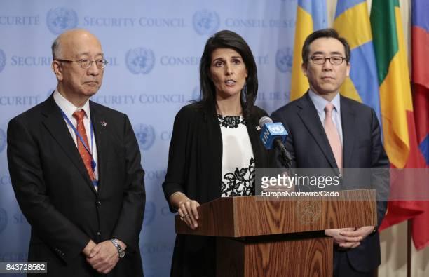 Nikki R Haley United States Permanent Representative to the United Nations along with Koro Bessho Permanent Representative of Japan and Ambassador...