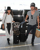 Nikki Reed and Ian Somerhalder are seen at LAX on July 14 2016 in Los Angeles California