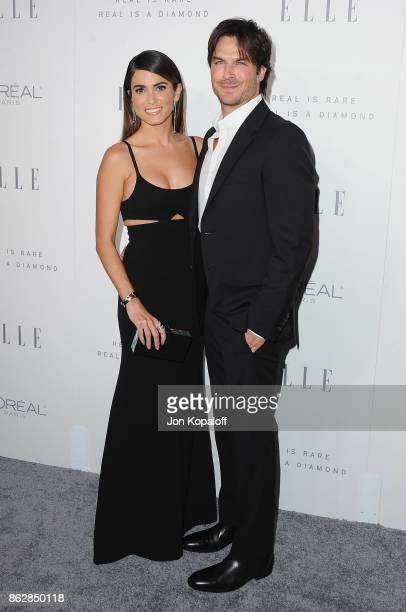 Nikki Reed and Ian Somerhalder arrive at ELLE's 24th Annual Women in Hollywood Celebration at Four Seasons Hotel Los Angeles at Beverly Hills on...