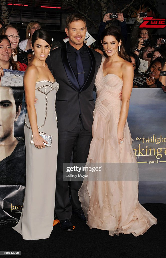 Nikki Reed, Kellan Lutz and Ashley Greene arrives at 'The Twilight Saga: Breaking Dawn - Part 2' Los Angeles premiere at Nokia Theatre L.A. Live on November 12, 2012 in Los Angeles, California.