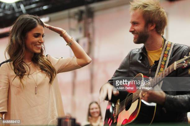 Nikki Reed sings a song with her husband Paul McDonald from the movie soundtrack at a fan event for the film Twilight Saga Breaking Dawn Part II at...