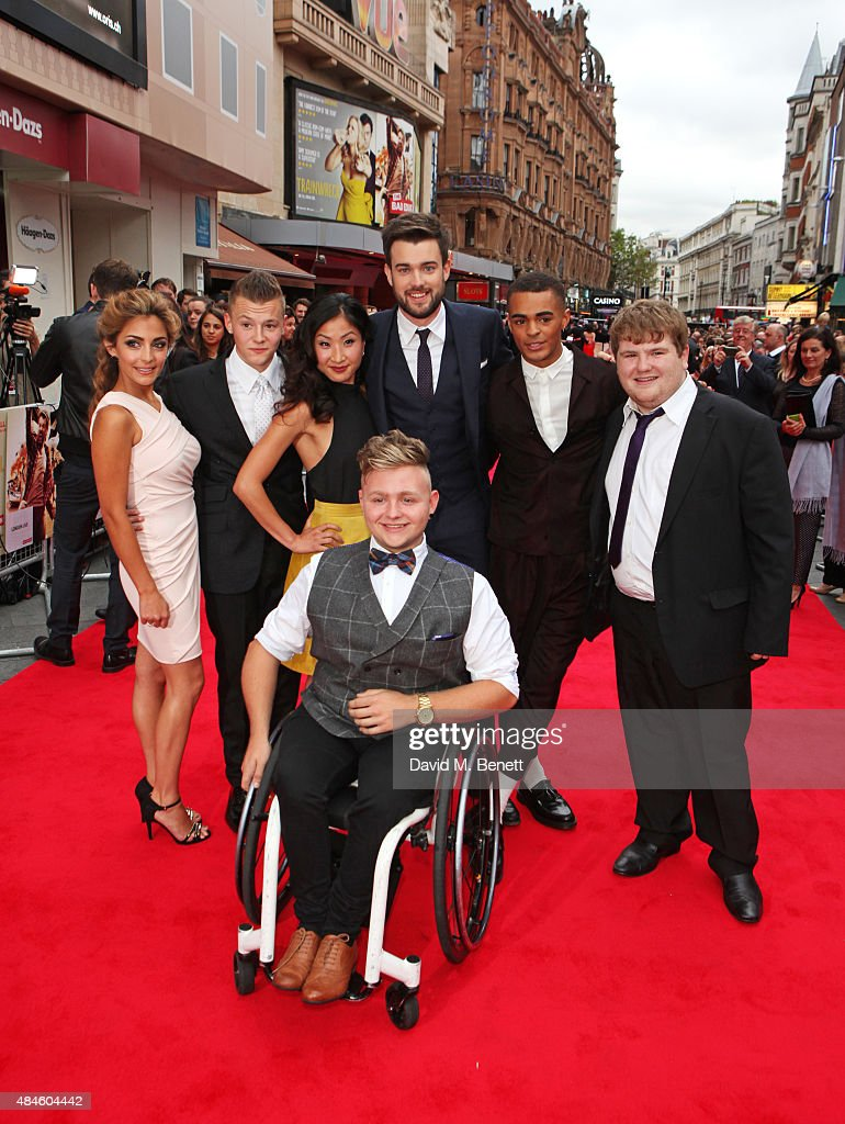 Nikki Runeckles, Charlie Wernham, Kae Alexander, Jack Whitehall, Layton Williams, Ethan Lawrence and Jack Binstead (front) attend the World Premiere of 'The Bad Education Movie' at Vue West End on August 20, 2015 in London, England.