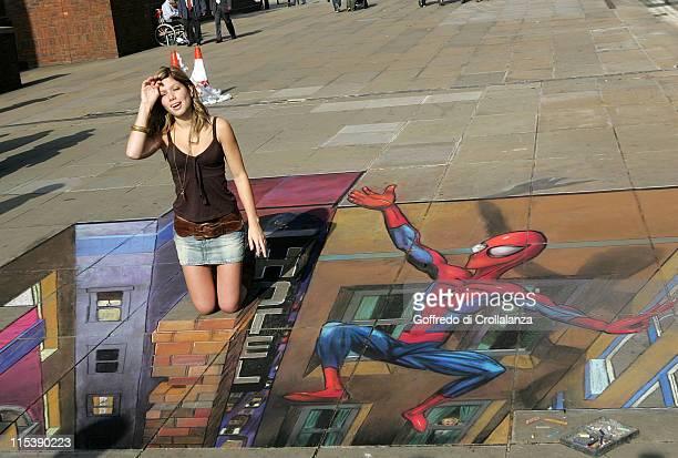 Nikki Sanderson during Activision's 'Ultimate SpiderMan' Console Game Launch at Millennium Bridge London in London United Kingdom