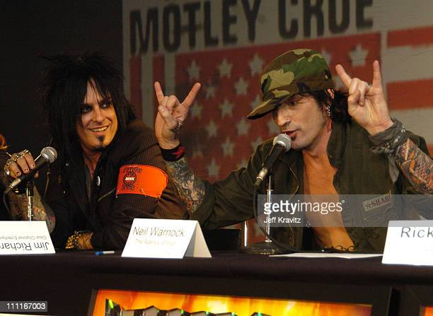 Nikki Six and Tommy Lee of Motley Crue during Motley Crue Press Conference December 6 2004 at Hollywood Palladium in Los Angeles California United...