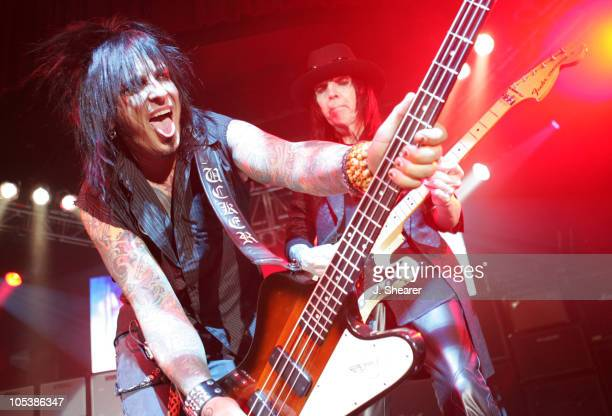 Nikki Sixx and Mick Mars of Motley Crue during Motley Crue 'Better Live Than Dead' Tour Announcement Concert at The Palladium in Hollywood California...