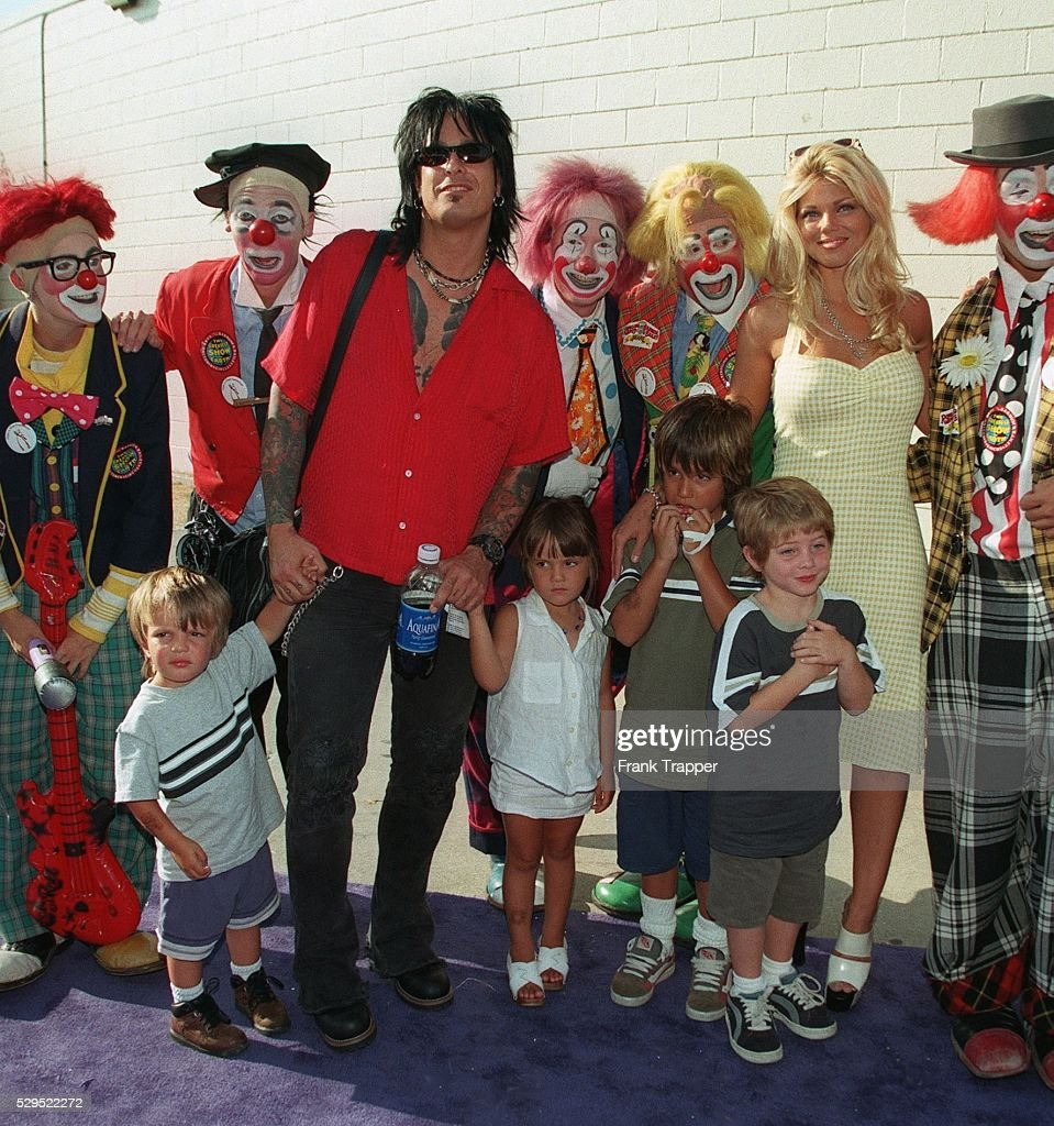 nikki sixx donna d u0027errico u0026 their kids surrounded by clowns from