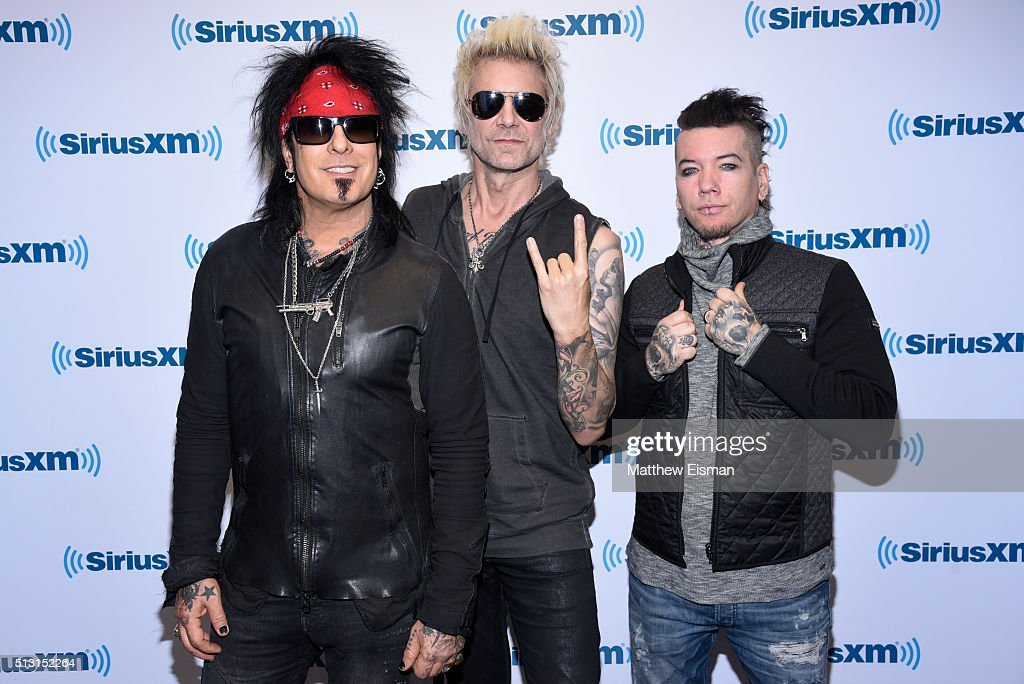 Nikki Sixx, James Michael and DJ Ashba of the band Sixx:A.M. visit at SiriusXM Studios on February 29, 2016 in New York City.