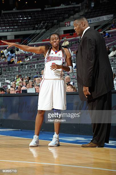 Nikki Teasley talks to head coach Rick Mahorn of the Detroit Shock during the WNBA game against the New York Liberty on September 10 2009 at The...