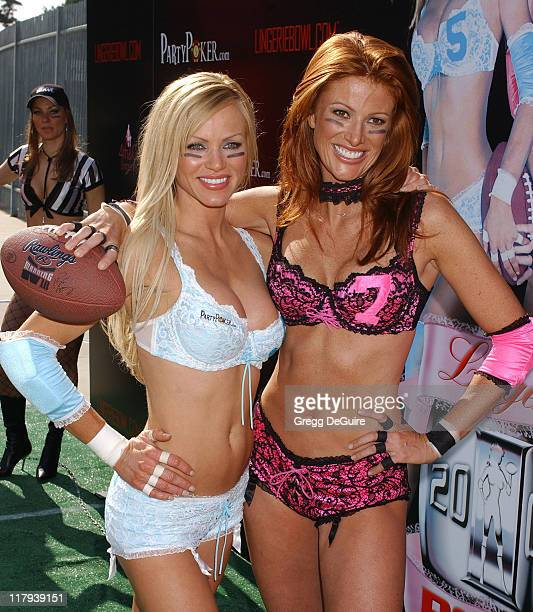 Nikki Ziering and Angie Everhart during Press Conference for This Week's 1st Annual Lingerie Bowl at Los Angeles Coliseum in Los Angeles California...