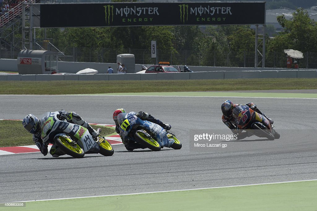 Niklas Ajo of Finland and Avant Techno Husquarna Ajo leads the field during the Moto3 race during the MotoGp of Catalunya - Race at Circuit de Catalunya on June 15, 2014 in Montmelo, Spain.