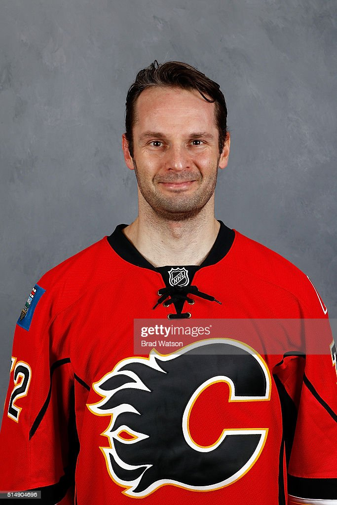 Niklas Backstrom of the Calgary Flames gets his headshot taken before an NHL game against the Arizona Coyotes at Scotiabank Saddledome on March 11...