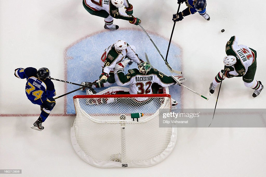 <a gi-track='captionPersonalityLinkClicked' href=/galleries/search?phrase=Niklas+Backstrom&family=editorial&specificpeople=861018 ng-click='$event.stopPropagation()'>Niklas Backstrom</a> #32 of the Minnesota Wild makes a save against the St. Louis Blues at the Scottrade Center on January 27, 2013 in St. Louis, Missouri.