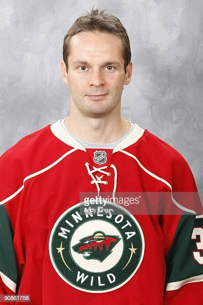 Niklas Backstrom of the Minnesota Wild poses his official headshot for the 20092010 NHL season at the Xcel Energy Center on September 12 2009 in...