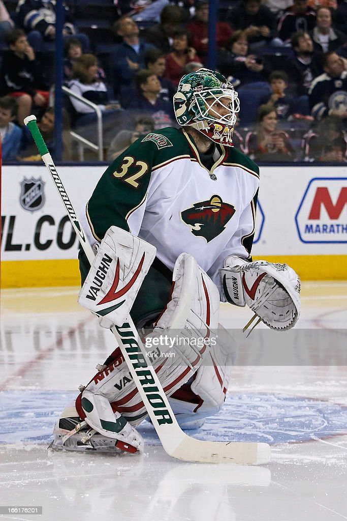 Niklas Backstrom #32 of the Minnesota Wild warms up prior to the start of the second period against the Columbus Blue Jackets on April 7, 2013 at Nationwide Arena in Columbus, Ohio.